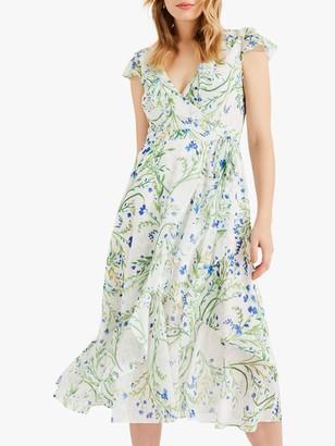 Phase Eight Flavia Floral Print Midi Dress, Ivory/Multi