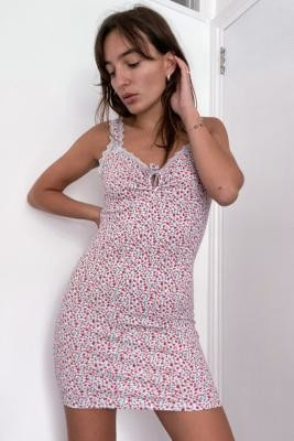 Urban Outfitters Ditsy Floral Lace Trim Cami Mini Dress - Pink L at