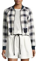 3.1 Phillip Lim Cropped Surf Plaid Bomber Jacket, White/Midnight/Black