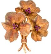 Tiffany & Co. 18K Ruby Flower Boquet Brooch
