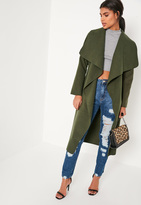 Missguided Khaki Oversized Waterfall Duster Coat
