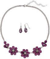 Purple Flower Necklace & Teardrop Bead Drop Earring Set