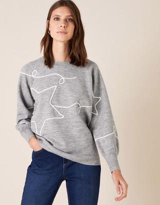 Monsoon Cornelli Star Knit Jumper Grey