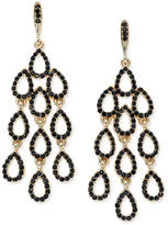 INC International Concepts Gold-Tone Jet Pave Waterfall Chandelier Earrings, Created for Macy's