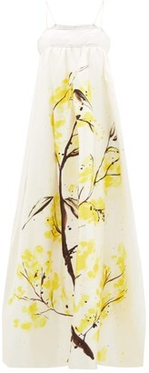Aje Mimosa Blooming Empire-waist Satin Dress - Womens - Yellow White