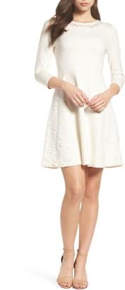 Eliza J Lace Overlay Sweater Dress