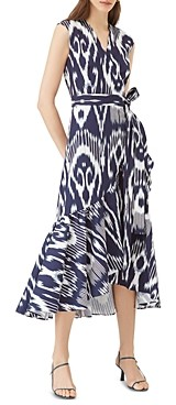Rebecca Taylor Ruffle Hem Cotton-Blend Ikat Wrap Dress