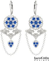 Victorian Style Earrings by Lucia Costin with 6 Petal Flower and Swarovski Crystals and Falling Chains, Set with Fancy Details and Cute Charm; .925 Sterling Silver; Handmade in USA