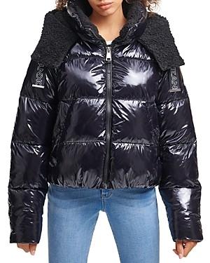 DKNY Coated Hooded Puffer Coat