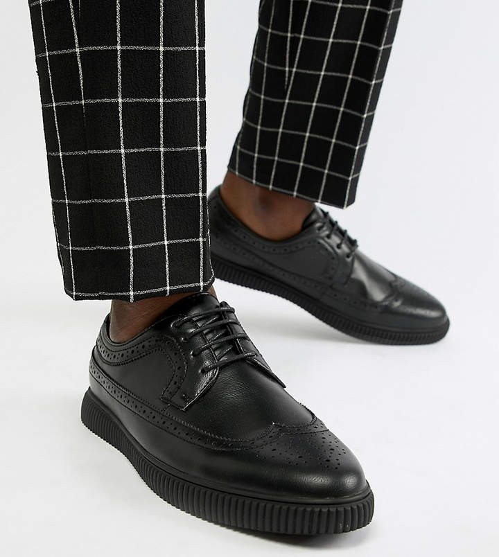 Asos DESIGN Wide Fit creeper brogue shoes in black faux leather