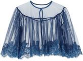 I.D. Sarrieri Jamais Le Premier Soir Chantilly Lace-trimmed Stretch-tulle Bed Jacket - Storm blue