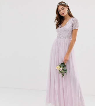 Maya Bridesmaid v neck maxi tulle dress with tonal delicate sequin in soft lilac-Purple