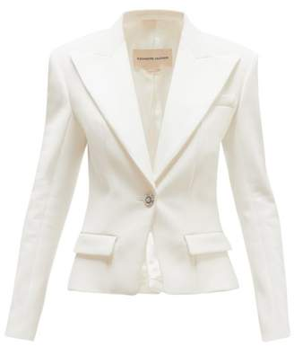 Alexandre Vauthier Crystal-button Single-breasted Crepe Blazer - Womens - Ivory