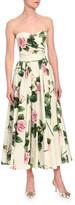 Dolce & Gabbana Strapless Floral-Print Poplin Midi Dress