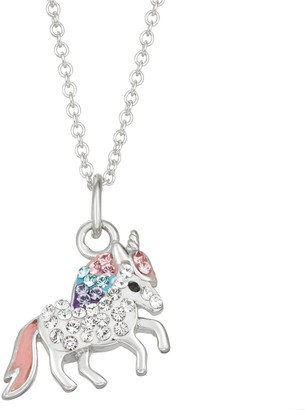 Charming Girl Kids' Sterling Silver Crystal Unicorn Pendant Necklace