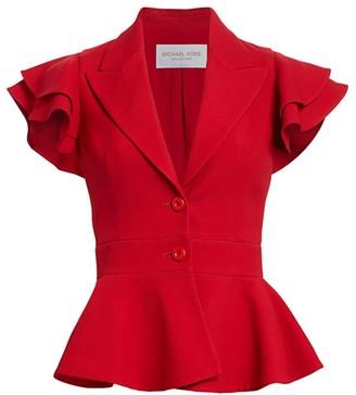Michael Kors Ruffle-Sleeve Peplum Jacket