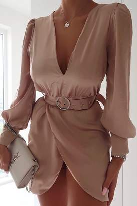 I SAW IT FIRST Nude Satin Plunge Diamante Belted Dress