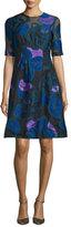 Lela Rose Holly Leaf Half-Sleeve Dress, Lapis/Multi