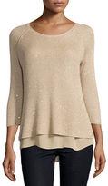 Neiman Marcus Sequin Sweater w/ Chiffon Trim