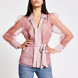 River Island Light pink spot organza sheer shirt