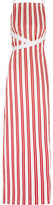 Balenciaga Canvas-trimmed Striped Cotton Maxi Dress - Red