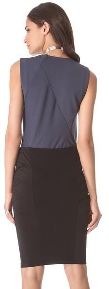 Donna Karan Sleeveless Illusion Back Bodysuit