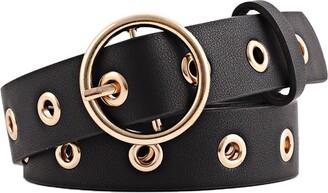 sourcingmap Women Grommet Studded Single Pin Buckle Leather Belt 28mm Width 1 1/8 Black