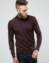 Farah Knitted Polo Shirt In Merino Wool Slim Fit Bordeaux