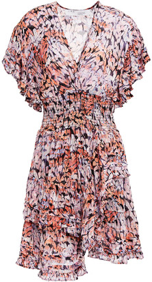 IRO Jenka Ruffled Printed Fil Coupe Chiffon Mini Dress