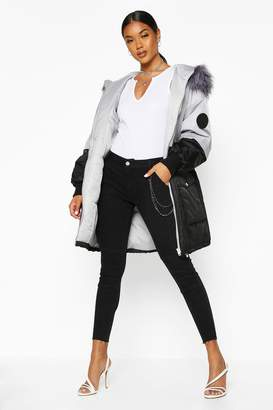 boohoo Colour Block Faux Fur Trim Parka