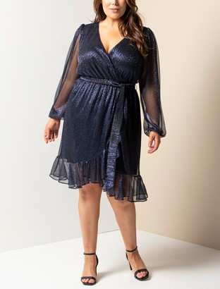 Forever New Veronica Curve Plisse Mini Dress - Indigo - 16
