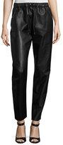 Prabal Gurung Studded Leather Track Pants, Black