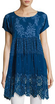 Johnny Was Arva Short-Sleeve Tiered Georgette Tunic, Blue
