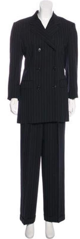 Ralph Lauren Wool Pinstriped Pantsuit Black Wool Pinstriped Pantsuit