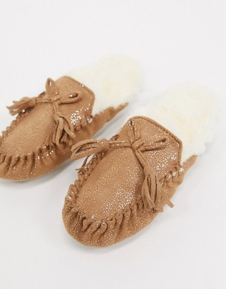 totes moccasin mule slippers in tan sparkle