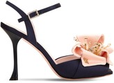 Roger Vivier 100MM SATIN SANDALS W/ FLOWER APPLIQUE