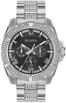 Bulova Men's Crystal Dress Stainless Steel & Crystal-Accent Bracelet Watch 44mm