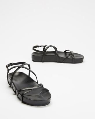 AERE - Women's Black All thongs - Strappy Leather Footbed Sandals - Size 5 at The Iconic