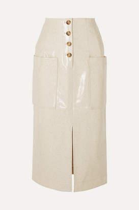 REJINA PYO Carmen Button-embellished Coated Wool-blend Midi Skirt - Ivory
