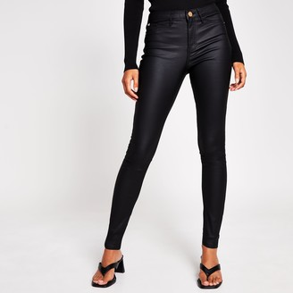 River Island Womens Black molly mid rise coated jean