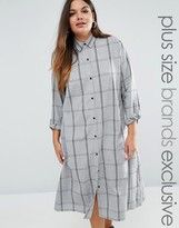Daisy Street Plus Longline Check Shirt Dress