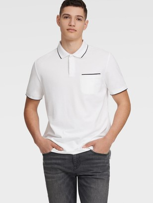 DKNY Men's Pique Polo With Chest Pocket - Black - Size XS