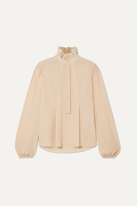 Chloé Embroidered Silk Crepe De Chine Blouse - Ecru
