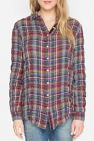 Johnny Was Plaid Embroidered Top