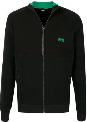 HUGO BOSS Zipped Logo-Print Jumper