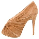 Christian Louboutin Suede Pleated Pumps