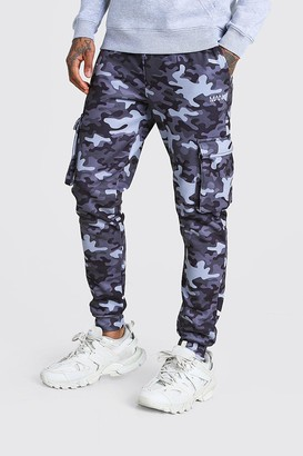 boohoo Mens Grey Original MAN Camo Cargo Joggers, Grey
