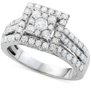 Centennial Diamond Square Halo Cluster Engagement Ring (1-1/2 ct. tw.) in 14k White Gold