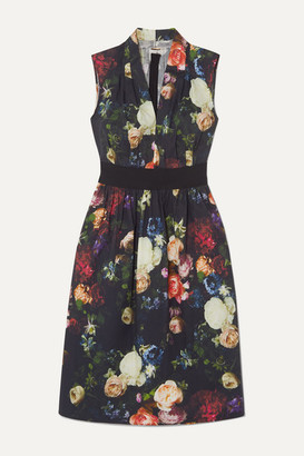 Adam Lippes Grosgrain-trimmed Floral-print Cotton-blend Poplin Dress - Black