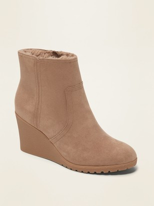 Old Navy Faux-Suede Wedge Ankle Boots for Women